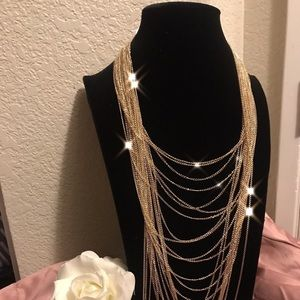 Multi Chain Gold Statement Necklace